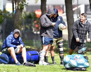 Injured players (from left) earlier this week. Thomas Umaga-Jensen, Jeff Thwaites, Ngane Punivai...