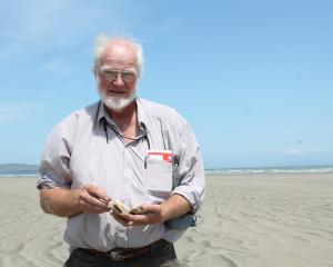 Environment Southland councillor Lloyd Esler holds a toheroa he collected in the past at Oreti...