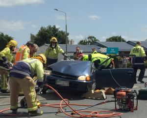 Emergency services work at the scene of a fatal crash in Invercargill yesterday. Photo: Staff...