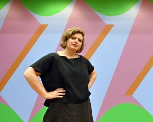 Frances Hodgkins Fellow Imogen Taylor poses in front of Double Portrait: Screw Thread from her '...