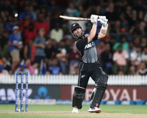 Black Caps captain Kane Williamson during his innings against India last night. Photo: Getty Images