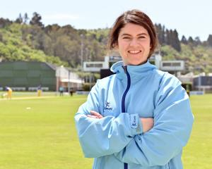 Women's cricket umpire Katie Hogue at the University of Otago Oval on Sunday. PHOTO: LINDA...