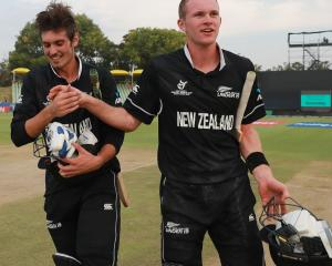 Kristian Clarke and Joseph Field celebrate hitting the winning runs for New Zealand at the under...