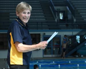 Mary McFarlane at a swim meet at Moana Pool last November. Photo: Staff photographer