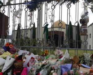 Floral tributes left at the Al Noor Mosque in Christchurch after the attack on 15 March last year...