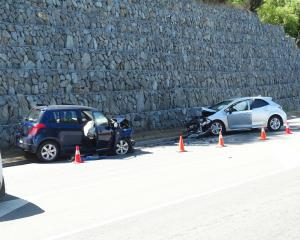 The two cars involved in yesterday's fatal crash in Queenstown. Photo: Guy Williams