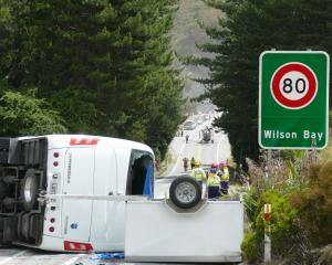 The bus carrying Chinese tourists that was involved in the crash.