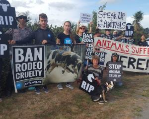 A group of protesters call for a ban to all rodeos. Photo: RNZ