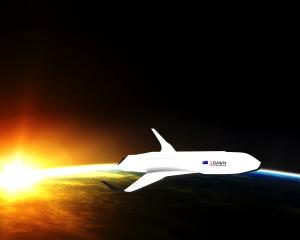 An artist's impression of Dawn Aerospace's space plane, which could be taking off from Oamaru...