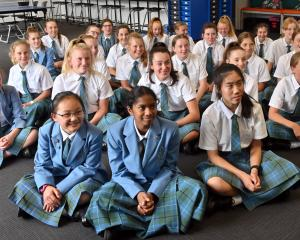 St Hilda's Collegiate year 9 pupils (from left) Hope Huang, Thareni Luxmanan and Annie Jiang (all...