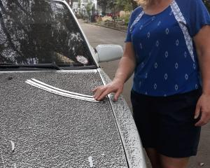 New Zealander Sonia Winslade (pictured) says ash spewing from Taal Volcano is coating their...