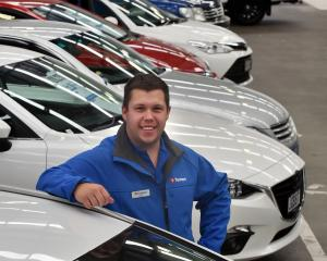 Turners salesman Joel Frecklington at the Dunedin auction site. Photo: Gerard O'Brien