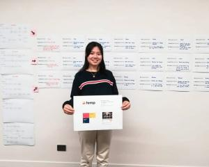 Magdeline Huang pitches her idea for a ''Temp'' where people can hire out items for money. Photo:...