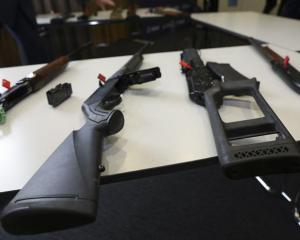 Banned firearms on display at a police media conference. Photo: RNZ