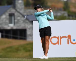 Sweden's Pernilla Lindberg plays a tee shot during a practice round at Millbrook in Arrowtown...