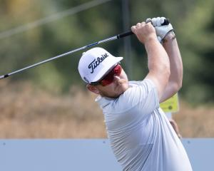 Leading New Zealander  Kieran Muir plays a shot at Millbrook during the second round of the New...