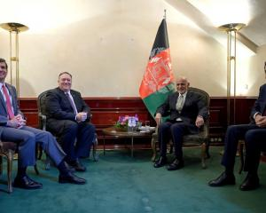 US Secretary of State Mike Pompeo (2nd L) meets Afghan President Ashraf Ghani with US Secretary...