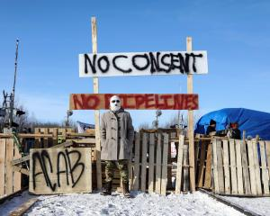 Supporters of the indigenous Wet'suwet'en Nation's hereditary chiefs camp at the railway blockade...