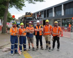 Tru-Line Civil contractors working on the CBD revamp are (from left) Patrick Kelly, Ben Hack,...