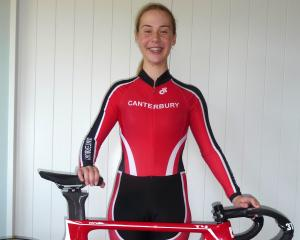 Ashburton cyclist Maddi Lowry with her five medals from the recent Canterbury Track Cycling...