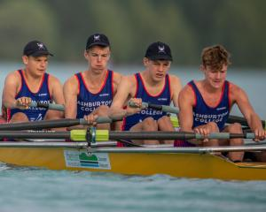 In the men's novice coxed four boat are Ashburton College rowers (from left) Tim Connelly-Whyte,...