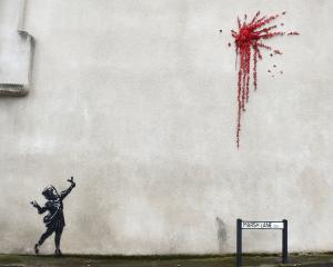 A suspected new mural by artist Banksy is pictured in Marsh Lane in Bristol. Photo: Reuters