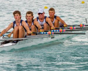 Grayson Small, Jacob Bolwell, Cody Campbell, Heny Kirk and cox Jake Burgess, of Otago Boys' High...