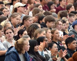 First-year students of the University of Otago listen during the convocation ceremony at Forsyth...