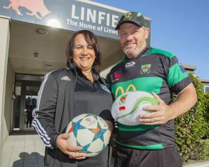 Coastal Spirit administration manager Rowena Scherrer and Linwood rugby manager Aaron Flynn....