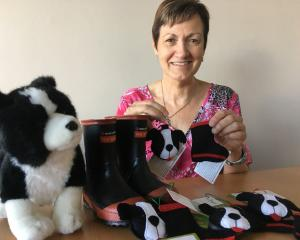 Judy Skevington's felt mini gumboots and sheep dog decorations are raising awareness and funds...