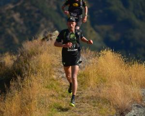 Weston Hill leads eventual winner Scottie Hawker on the Razorback Ridge during the Shotover...