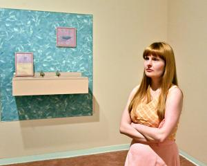 Emily Hartley-Skudder stands in front of her work Sure & Natural Flesh Blush, 2018, at...