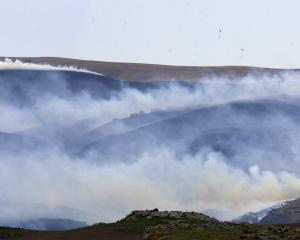 Fire-fighting helicopters are dwarfed by a huge blaze burning in the Deep Stream area in November...