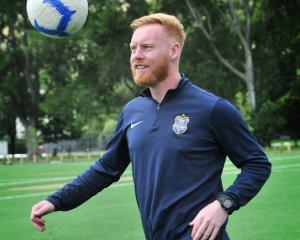 Southern United defender Stephen Last juggles a ball at Logan Park this week. PHOTO: CHRISTINE O...