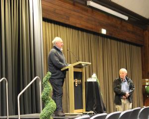 Recreational whitebaiter and whitebait working group member Ken Cochrane addresses about 200...