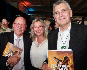 Attending the arts strategy launch at Queenstown Contemporary gallery last night were (from left)...