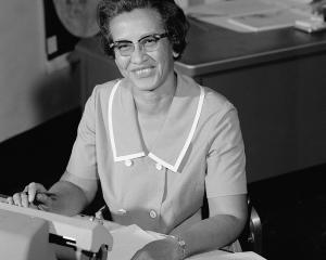 Nasa space scientist, and mathematician Katherine Johnson poses for a portrait at work at NASA...