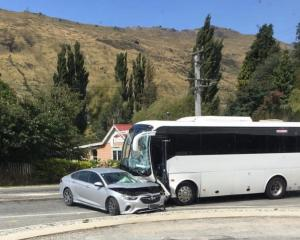 A car and bus crash near Kingston. Photo: Tom Kelly