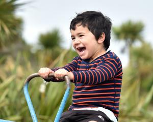 Mahe Fangupo (3), of Dunedin, enjoys the see-saw at Marlow Park playground. PHOTO: PETER MCINTOSH