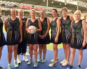 Enjoying the New Zealand Masters Games in Dunedin are the Koaki team of (from left) Judith Lunn,...