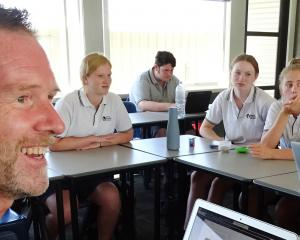 Mount Aspiring College English teacher Christopher Waugh teaches in his innovative, award-winning...