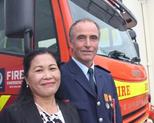 Gavin Cochrane, of the Kurow Volunteer Fire Brigade, with his wife, Nancy.  Mr Cochrane was...