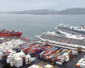 Port Otago in full flow with two cruise ships and a cargo ship visiting earlier this month. PHOTO...