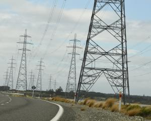 High voltage towers on Tiwai Rd, near New Zealand's only aluminium smelter. PHOTO: STEPHEN JAQUIERY