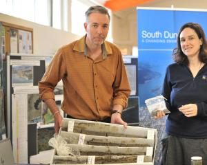 Informing the public of the geology of South Dunedin yesterday are Dunedin City Council...