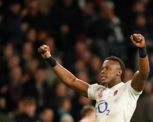 England's Maro Itoje celebrates after the match. Photo: Reuters