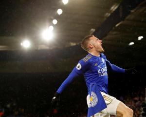 Leicester City's Jamie Vardy celebrates scoring their third goal. Photo: Reuters