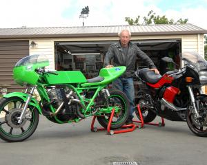 Motorcycle man Phil Garrett alongside the two bikes that will be involved in the record attempt....