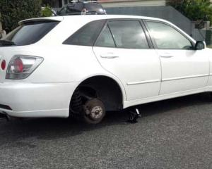 Tyres were stolen from the rear of a car in Wigram on Wednesday night.