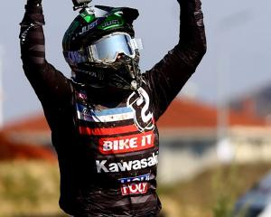 Courtney Duncan celebrates after claiming the Women's World Motocross Championship in Turkey....